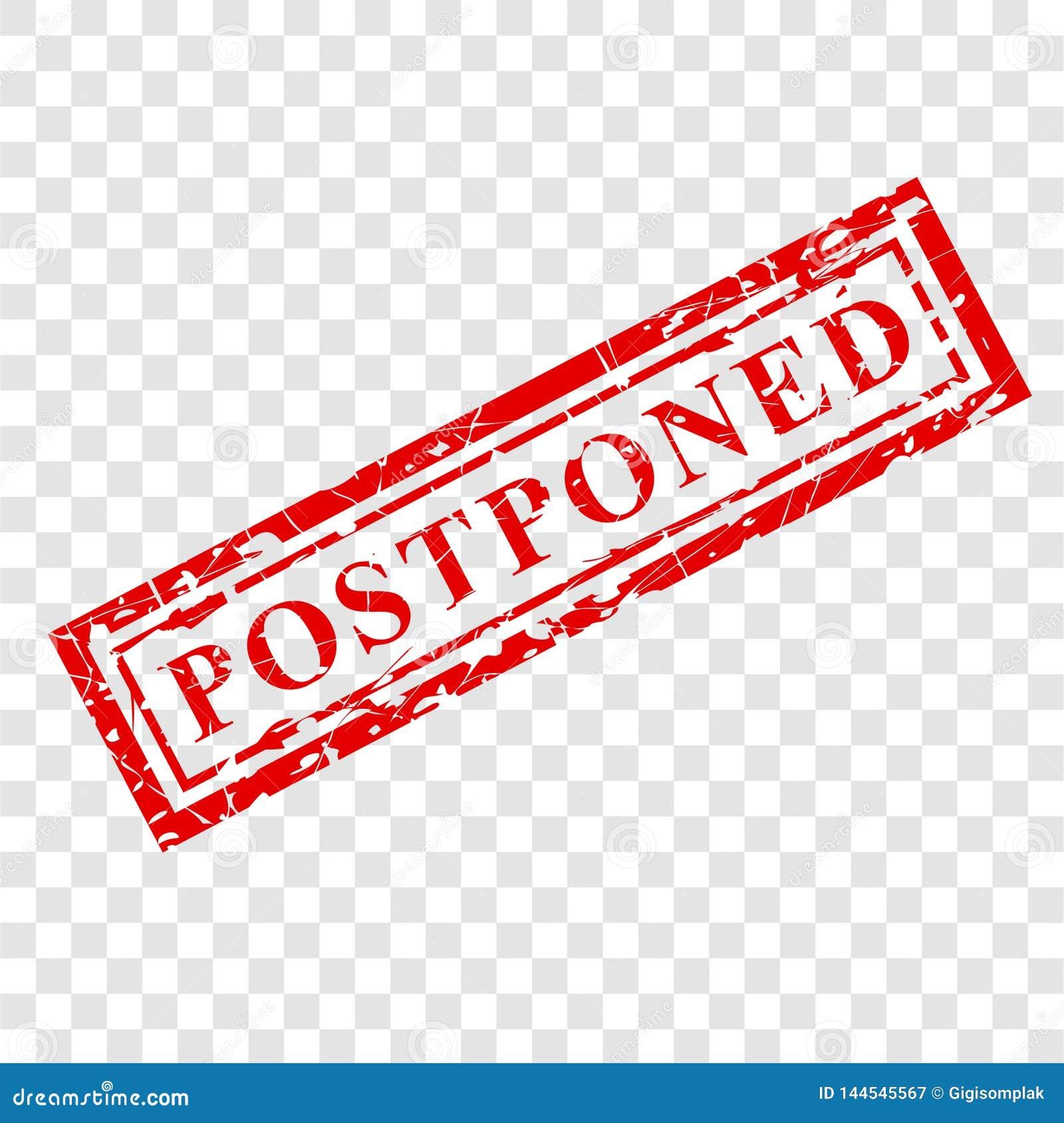 1 Red Grunge Rubber Stamp Effect, Postponed At Transparent