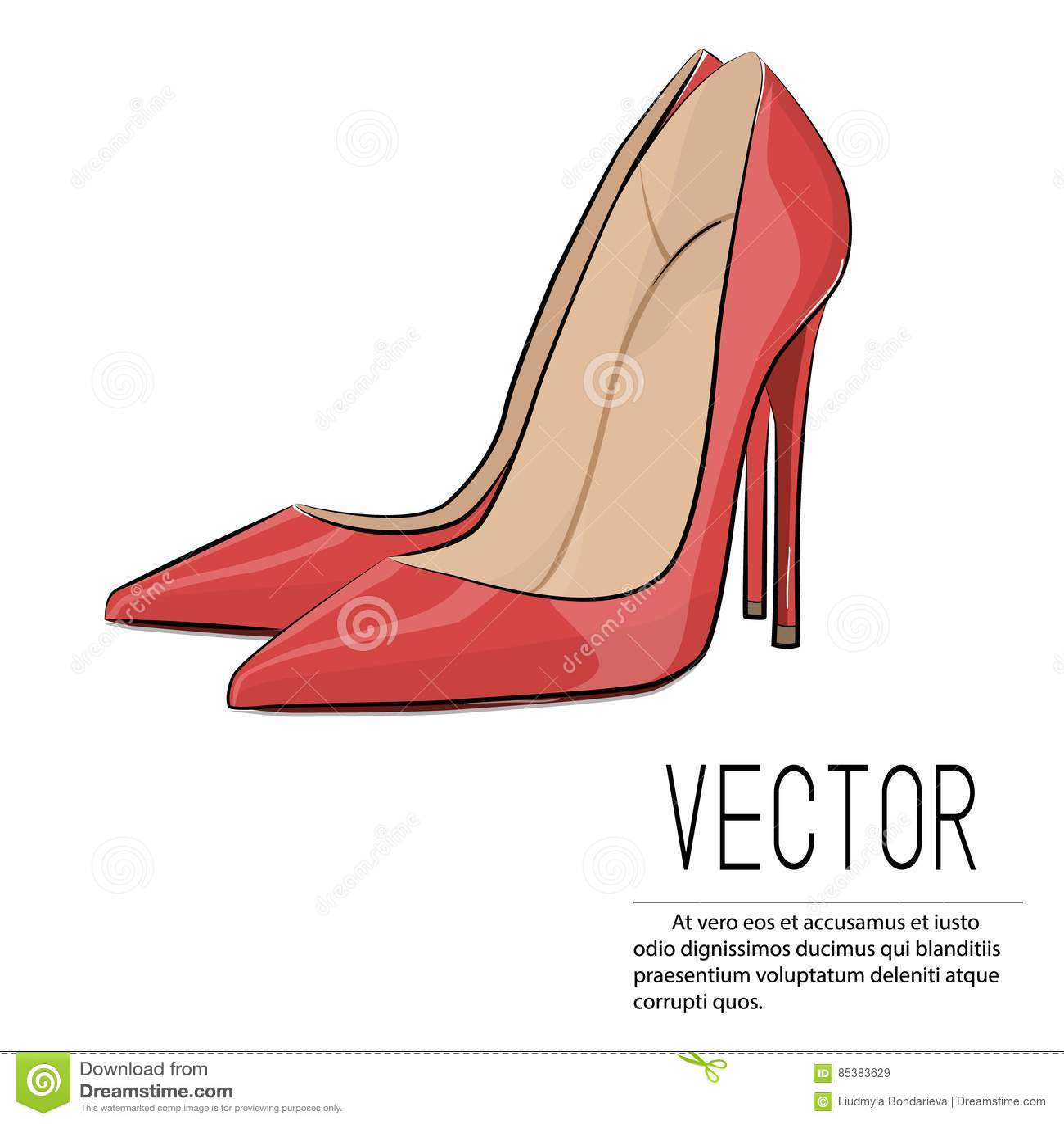 c3c377e3ef5 Vector Red Heels Fashion Illustration. Glamour Female High Heel ...