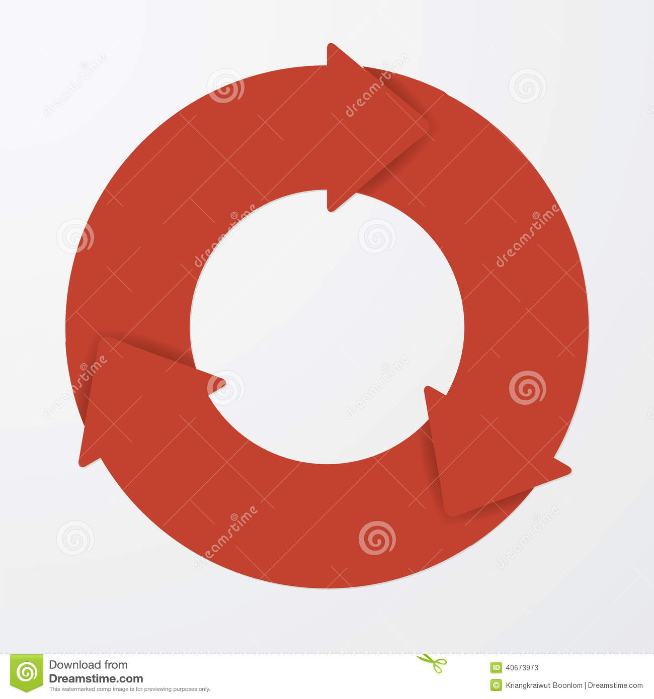 Vector Red Life Cycle Arrow  3  Stock Vector