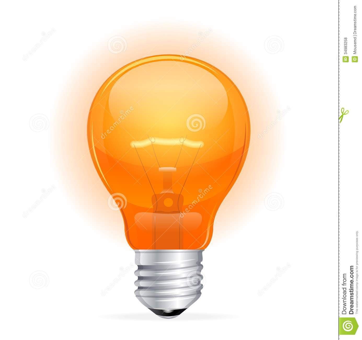 Vector Red Light Bulb On White Royalty Free Stock Photos