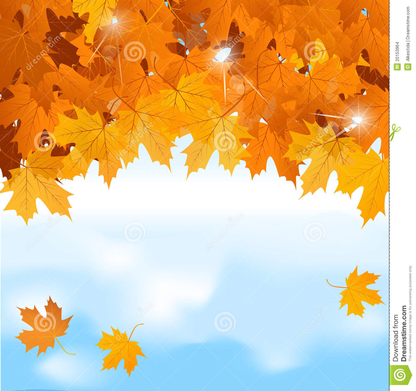 Vector Red Maple Leaves On Blue Sky Background Stock