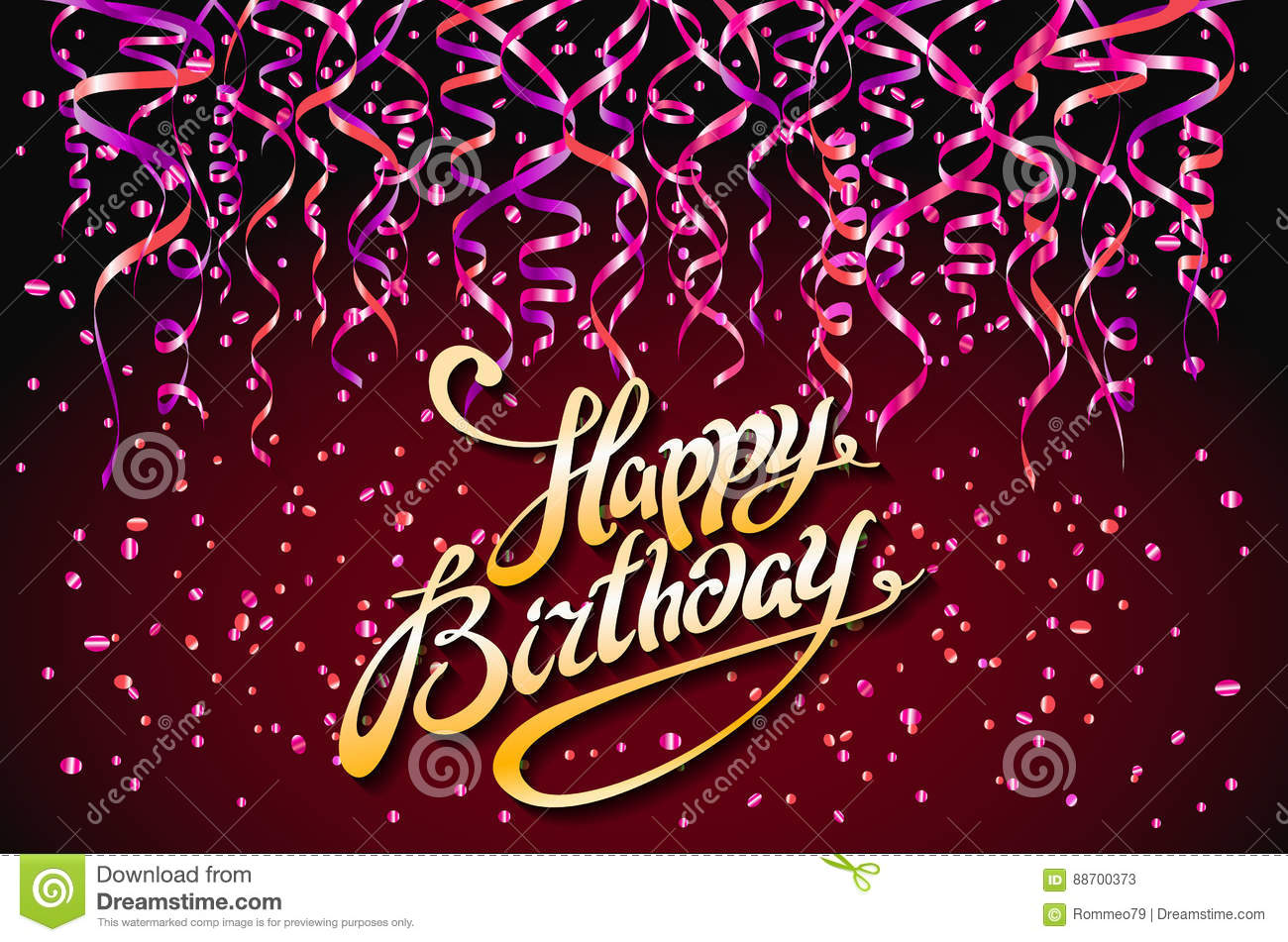 Vector Red Party Background Happy Birthday Celebration Design