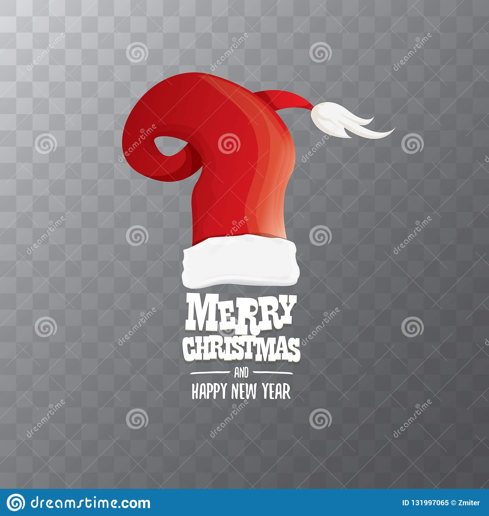 Christmas Hat Cartoon Transparent.Vector Red Santa Hat Label Isolated On Transparent