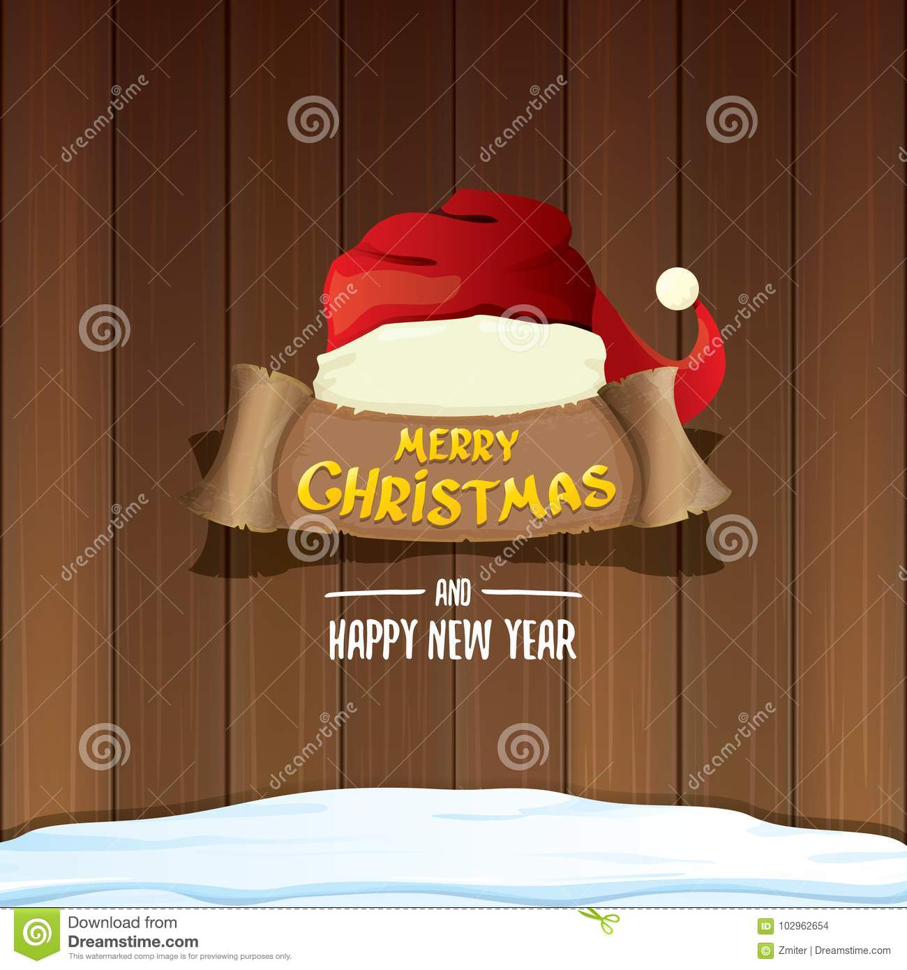 4c5220f01a3 Vector red Santa hat with paper banner and greeting text Merry Christmas  and Happy new year on wooden background. vector merry christmas card