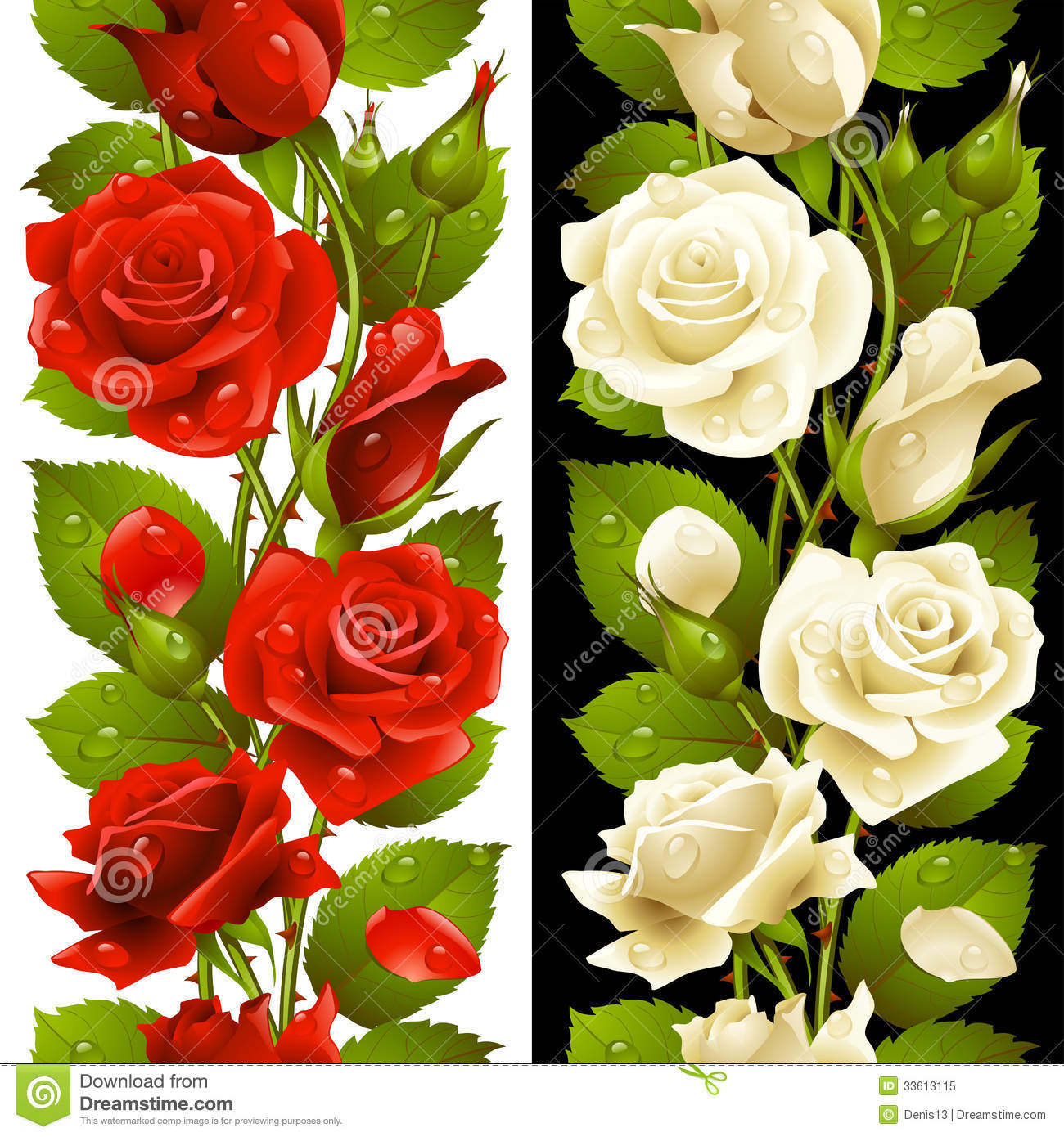 Vector red and white rose vertical seamless patter