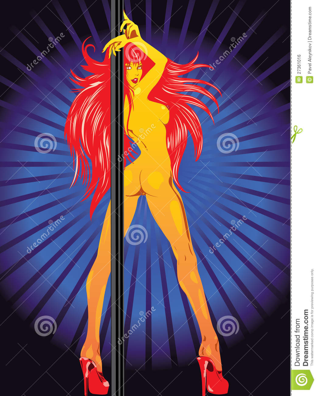 Vector Redhair Girl Striper