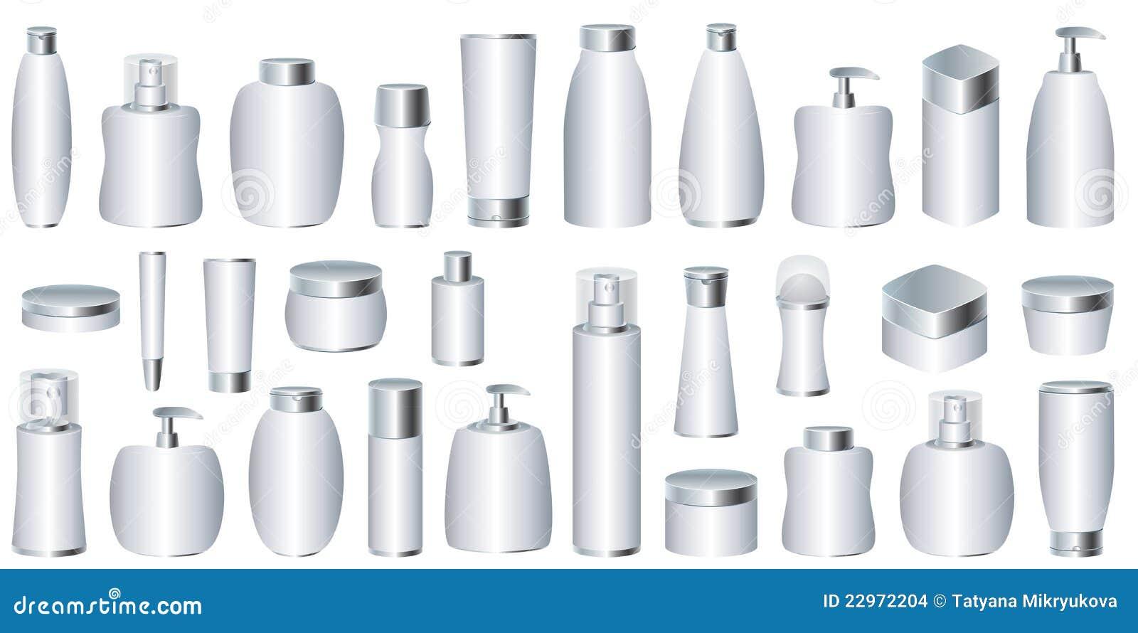 Vector reeks zilveren kosmetische pakketten