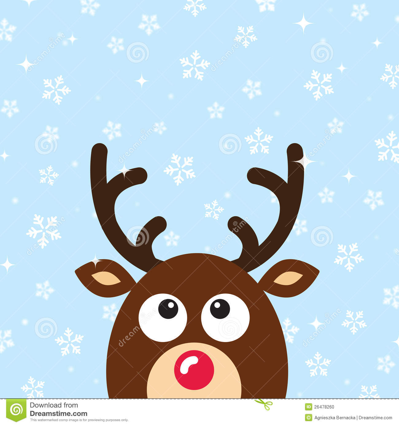Vector Reindeer Christmas Card With Snow Backgroun Stock Photo ...