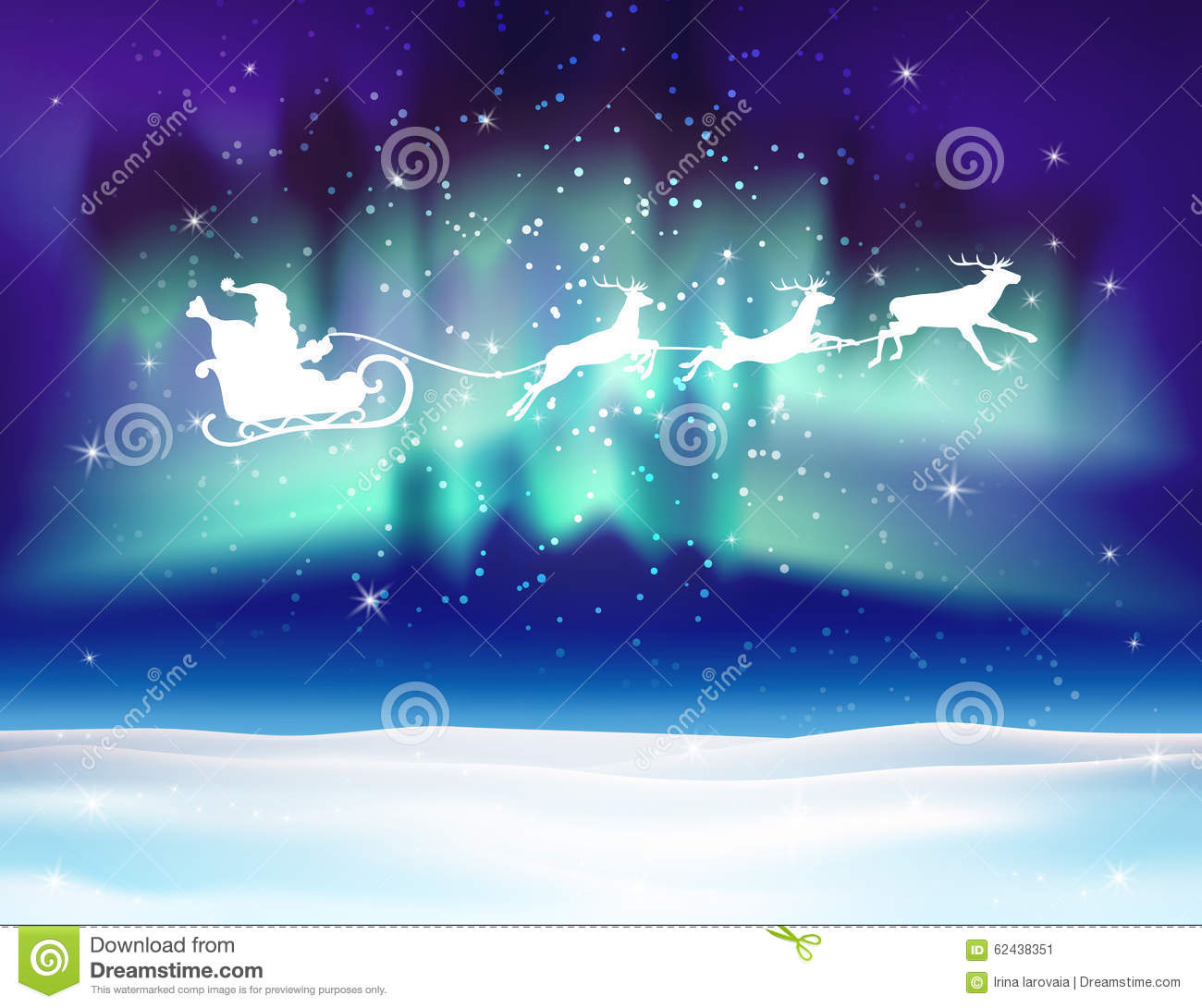 Vector Reindeer And Santa Claus On Northern Lights Background. Stock ... bbce03a70