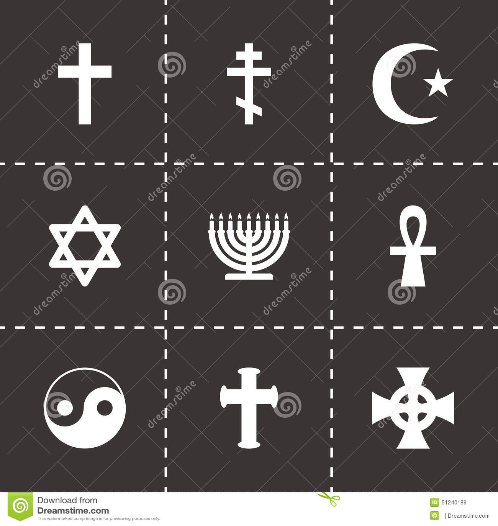 Vector Religious Symbols Icon Set Stock Vector Illustration Of