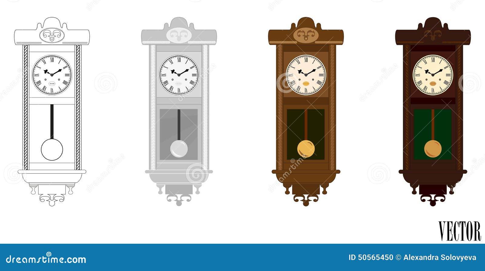Vector reloj de madera de la pared del p ndulo en - Reloj pintado en la pared ...