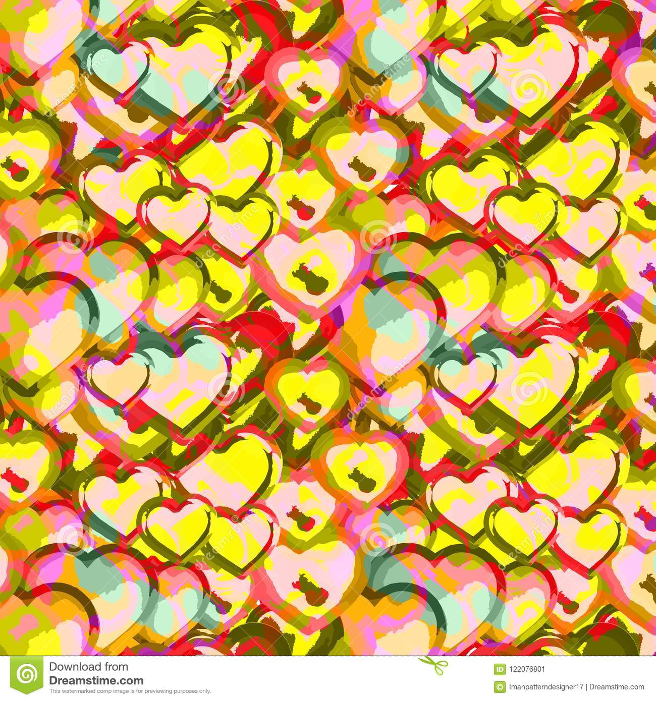Vector Repeating Pattern Of Colorful Abstract Heart Shapes