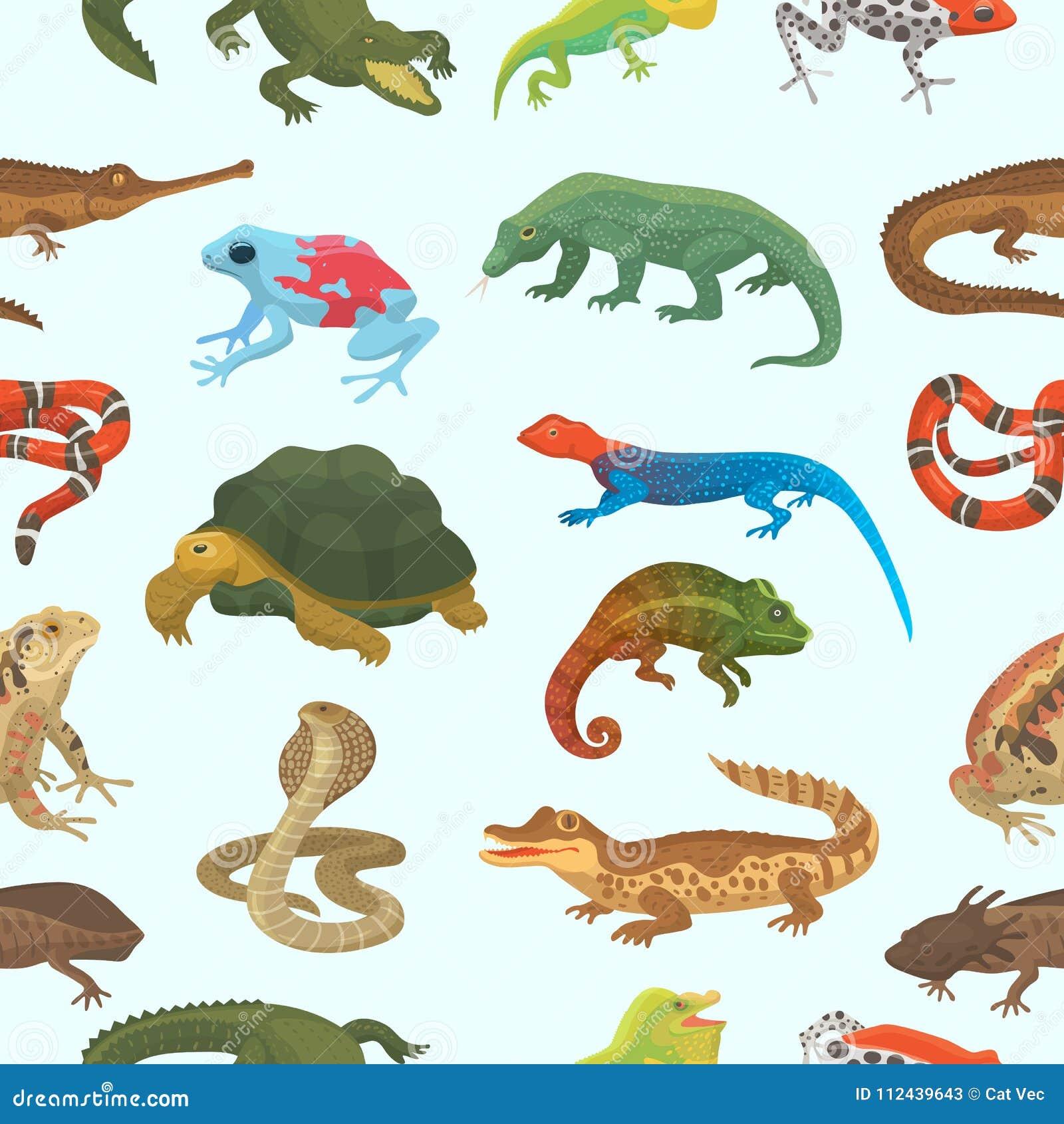 Vector reptiel dierlijk het wild wild kameleon van de aardhagedis, slang, schildpad, krokodilillustratie van reptilian