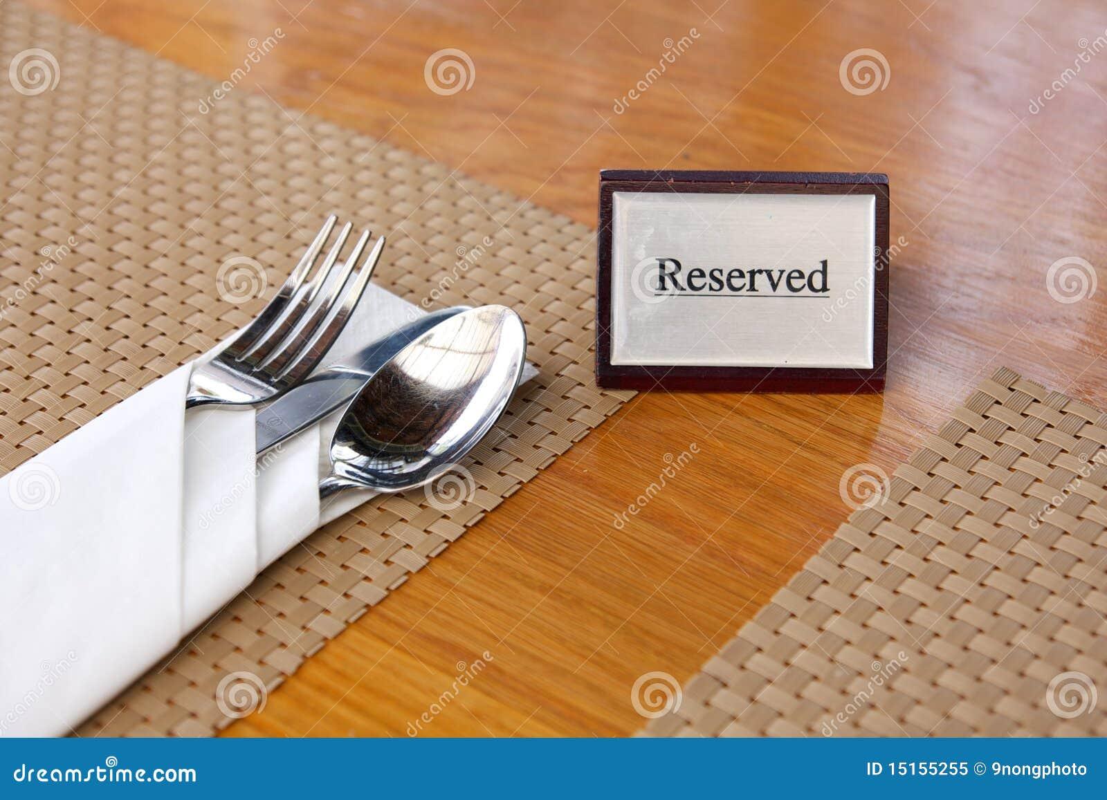 Vector Reservado Del Restaurante Imagen de archivo - Imagen de ...