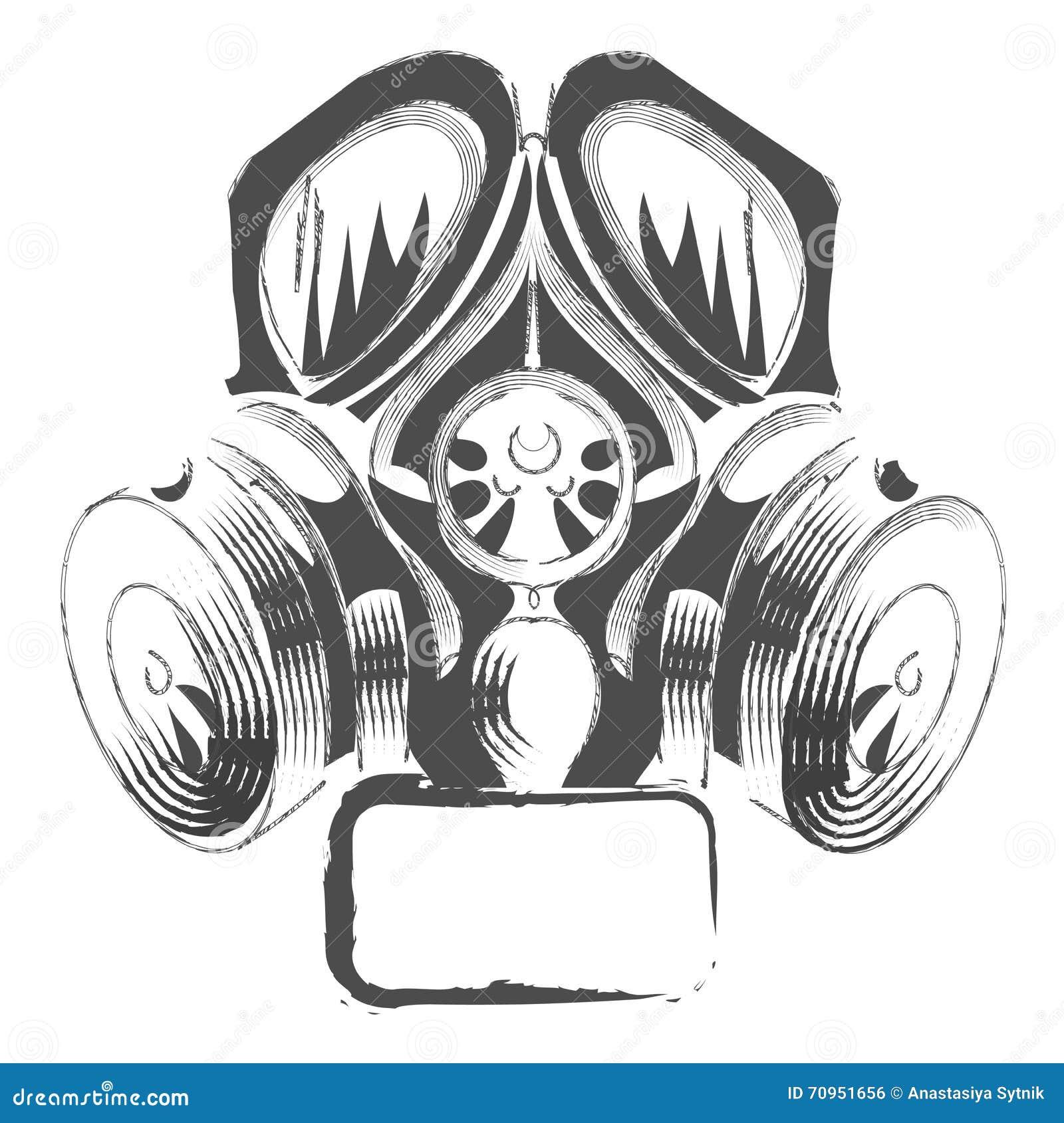 vector respirator graffiti steampunk style gas mask on