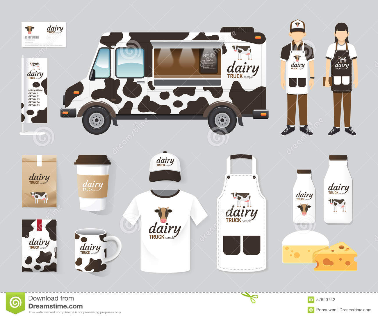 vector restaurant cafe design set street dairy food truck