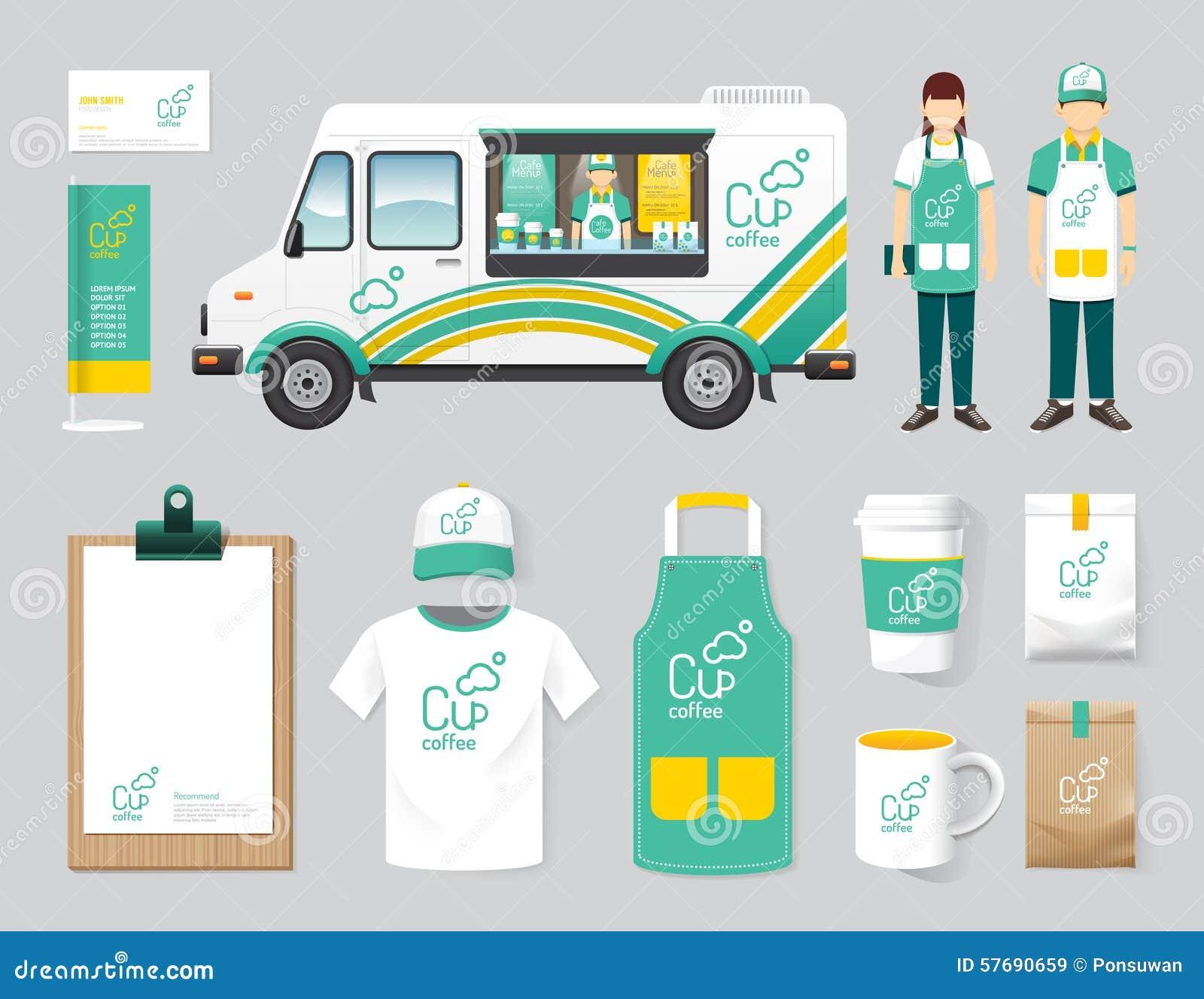 Vector restaurant cafe design set street food truck shop for Food truck menu design