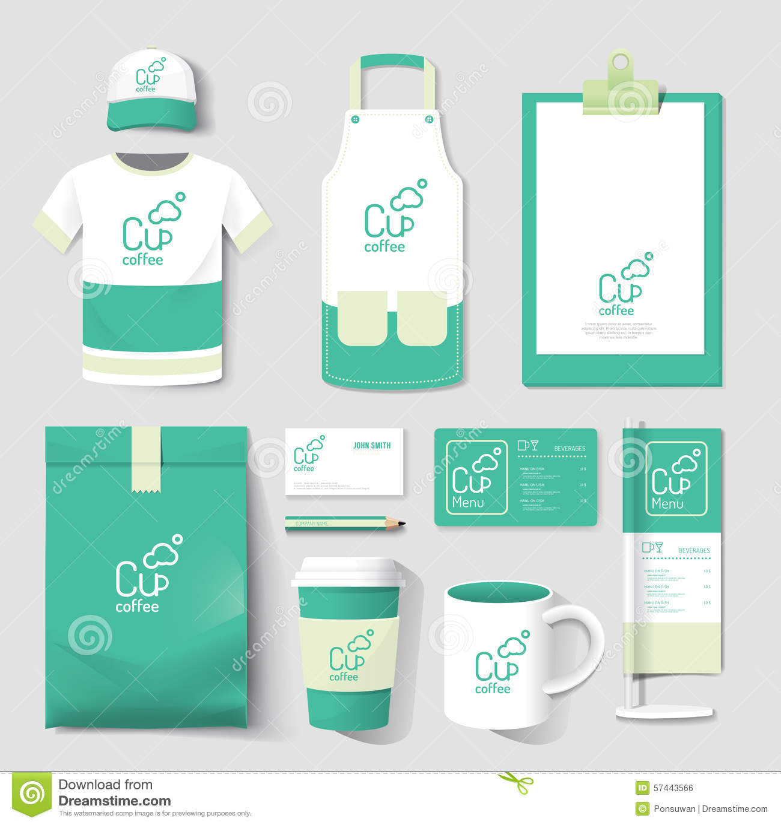 Vector restaurant cafe set flyer menu package t shirt