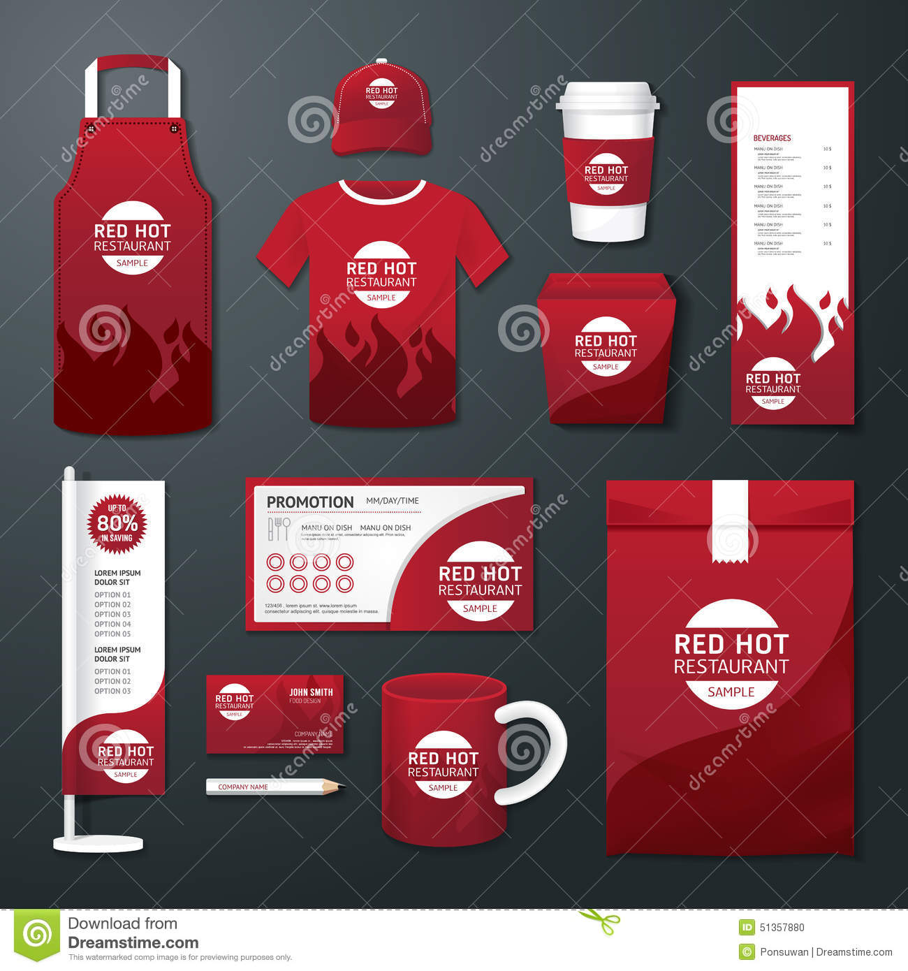 Vector Restaurant Cafe Set Flyer, Menu, Package, T-shirt, Cap ...