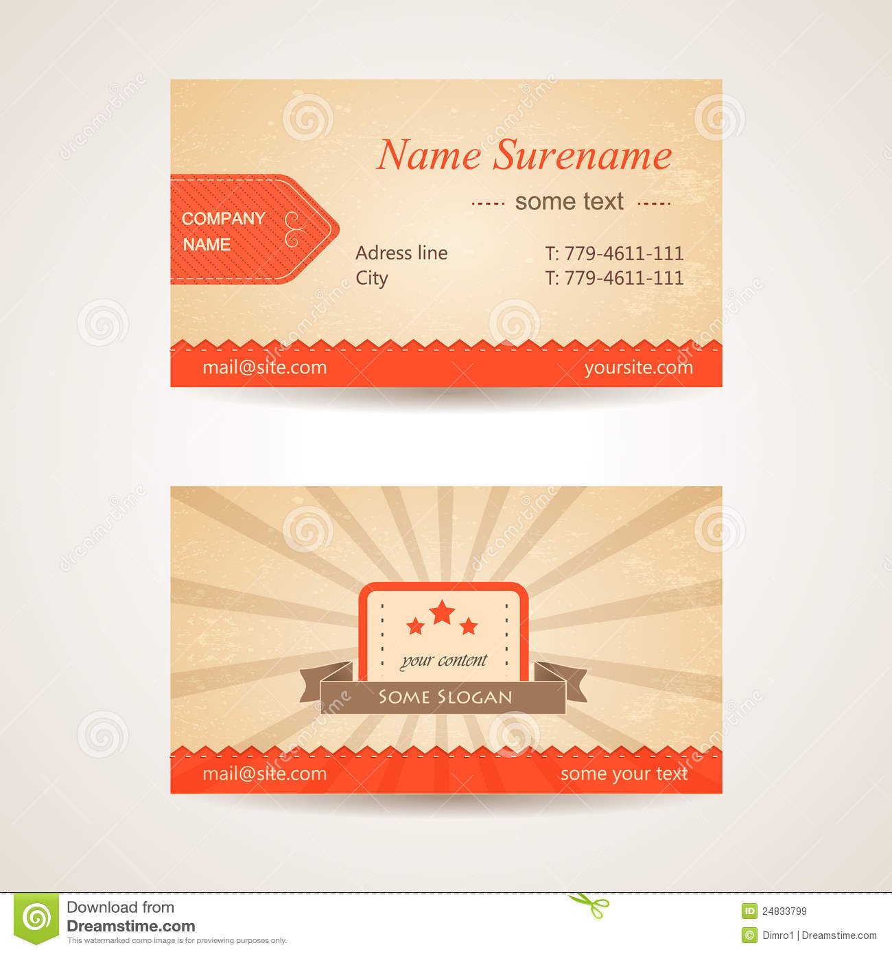 Vector retro business card front and back side stock illustration vector retro business card front and back side colourmoves