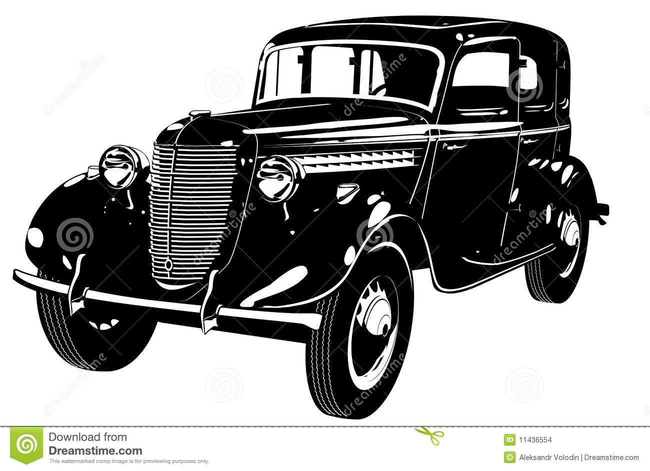Vector Retro Car Silhouette Stock Vector Illustration Of Drawing