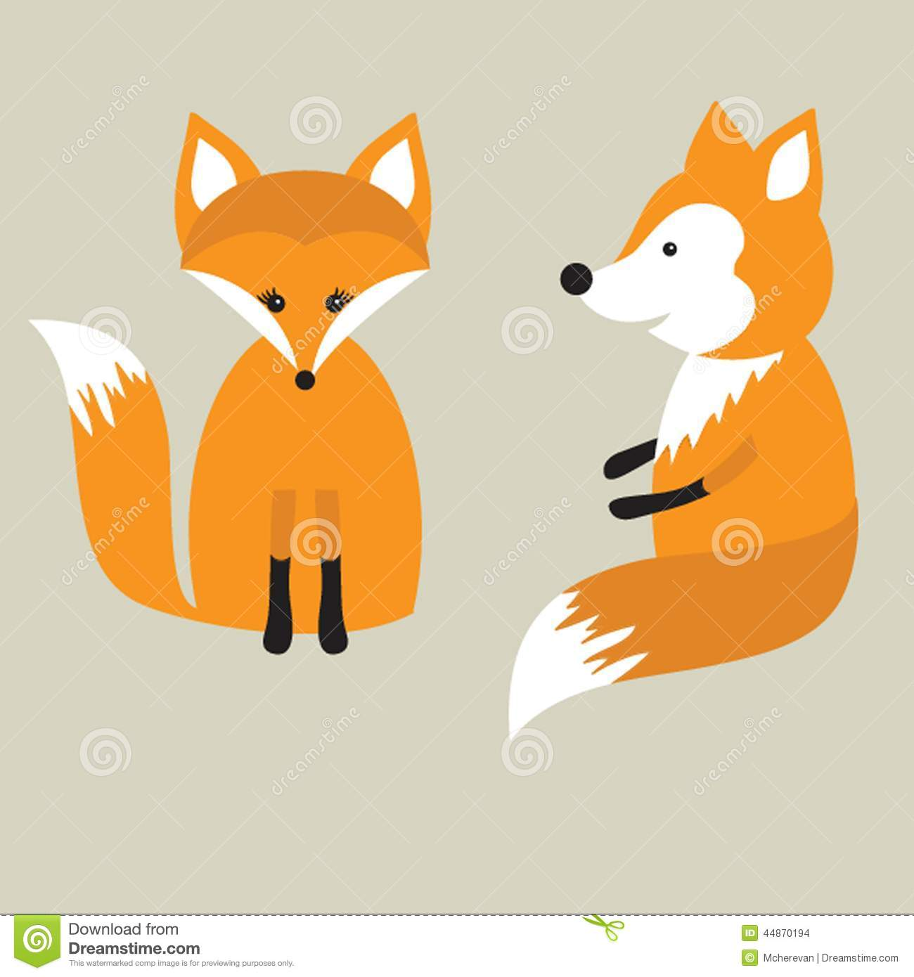 Vector Retro Card With Two Cute Foxes In Love Fox Couple Stock Illustration Image 44870194
