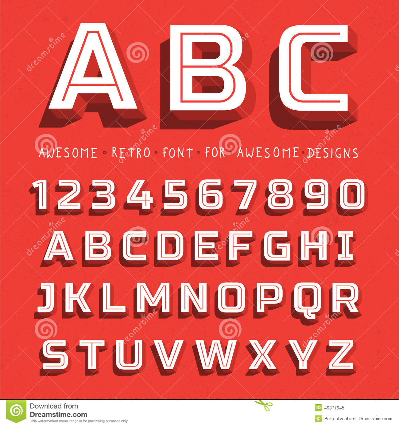 Vector Retro 3D Font With Shadow Stock Vector