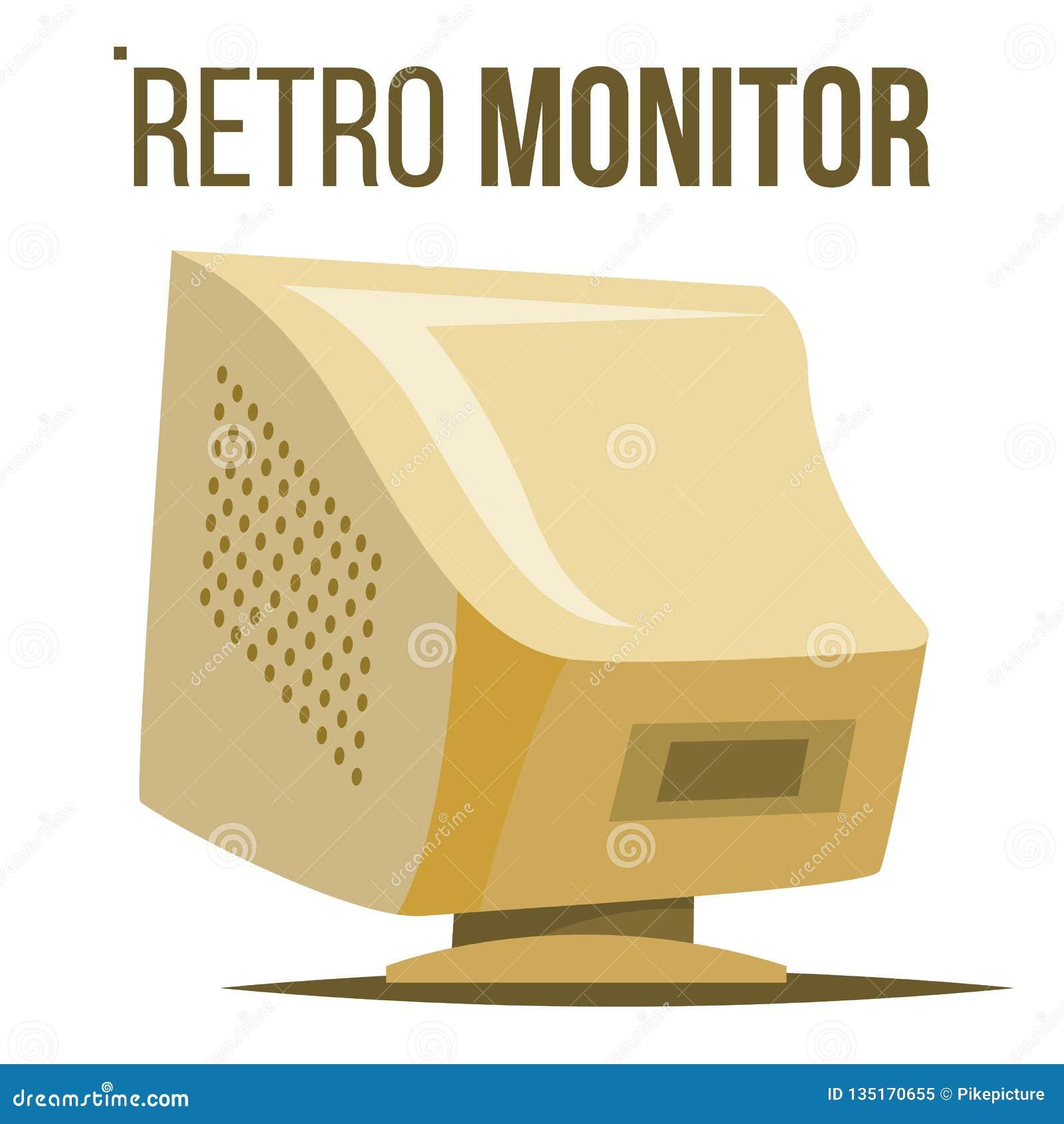 Vector retro del monitor de computadora Pantalla de computadora personal de escritorio clásica vieja Oficina, juego Historieta ai