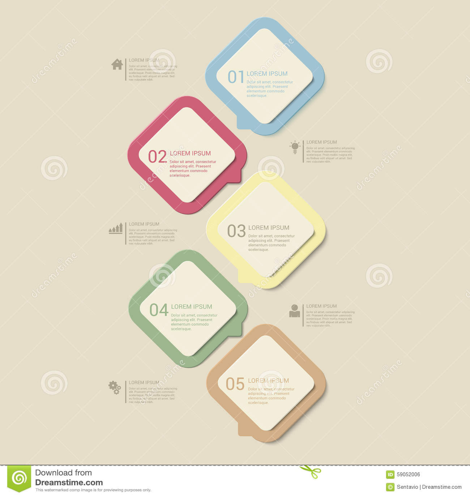 vector retro dusk process steps infographics template background