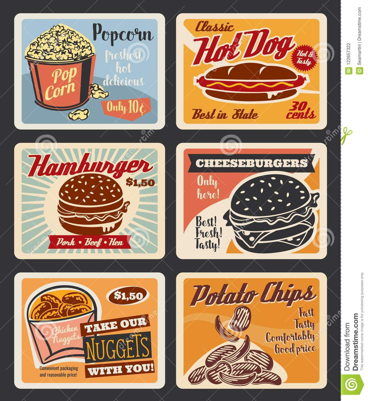 Vector Retro Fast Food Burgers And Snacks Posters Stock Vector ...