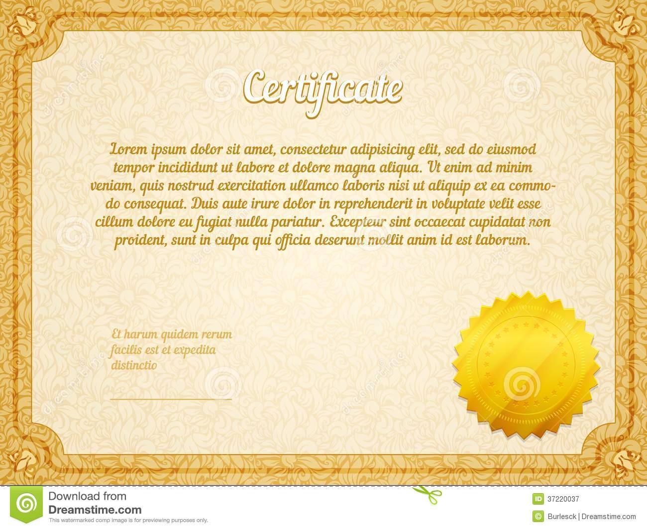 vector retro frame certificate template stock vector