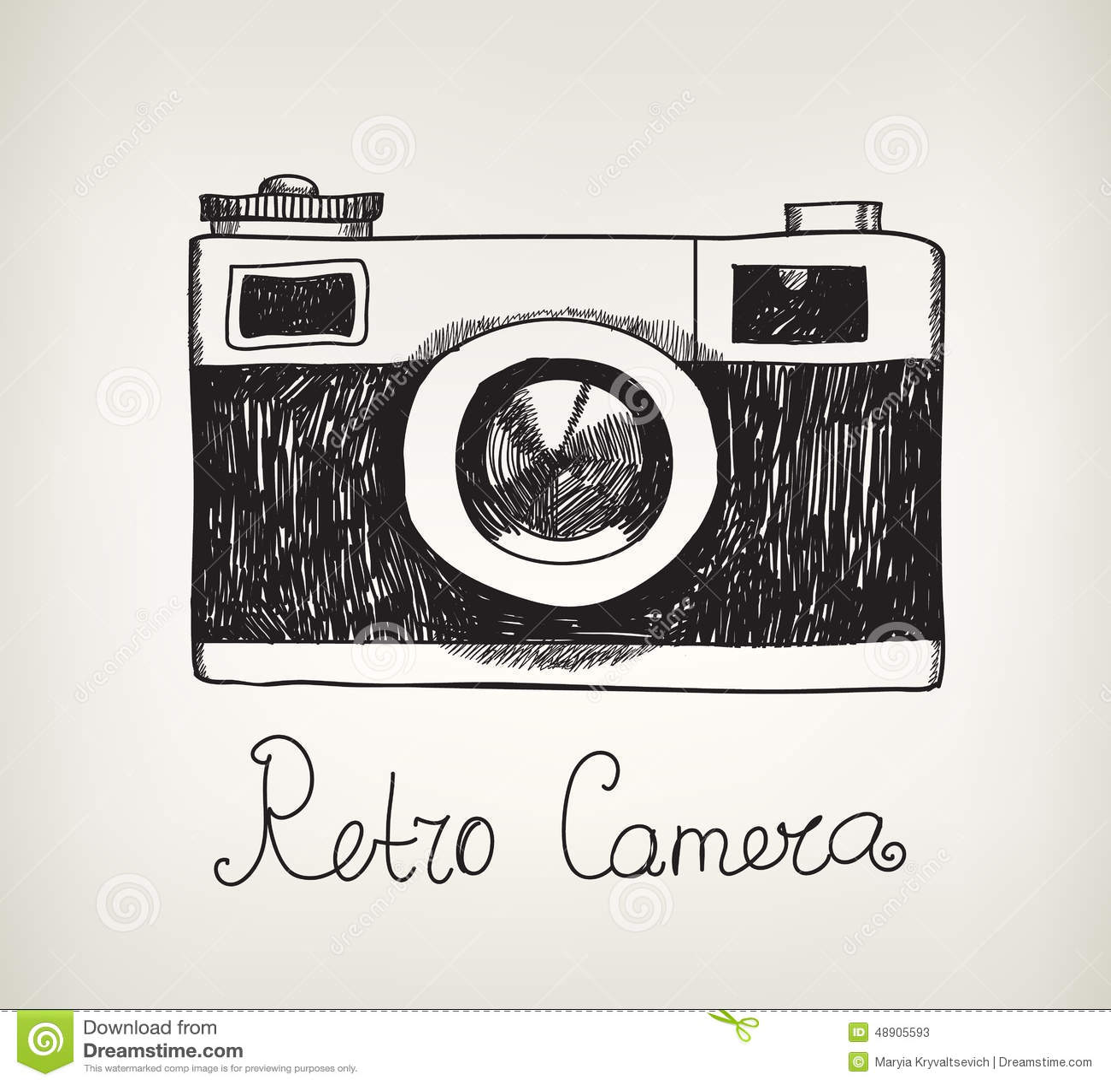 Vector retro hand getrokken hipster fotocamera vector for Camere dwg