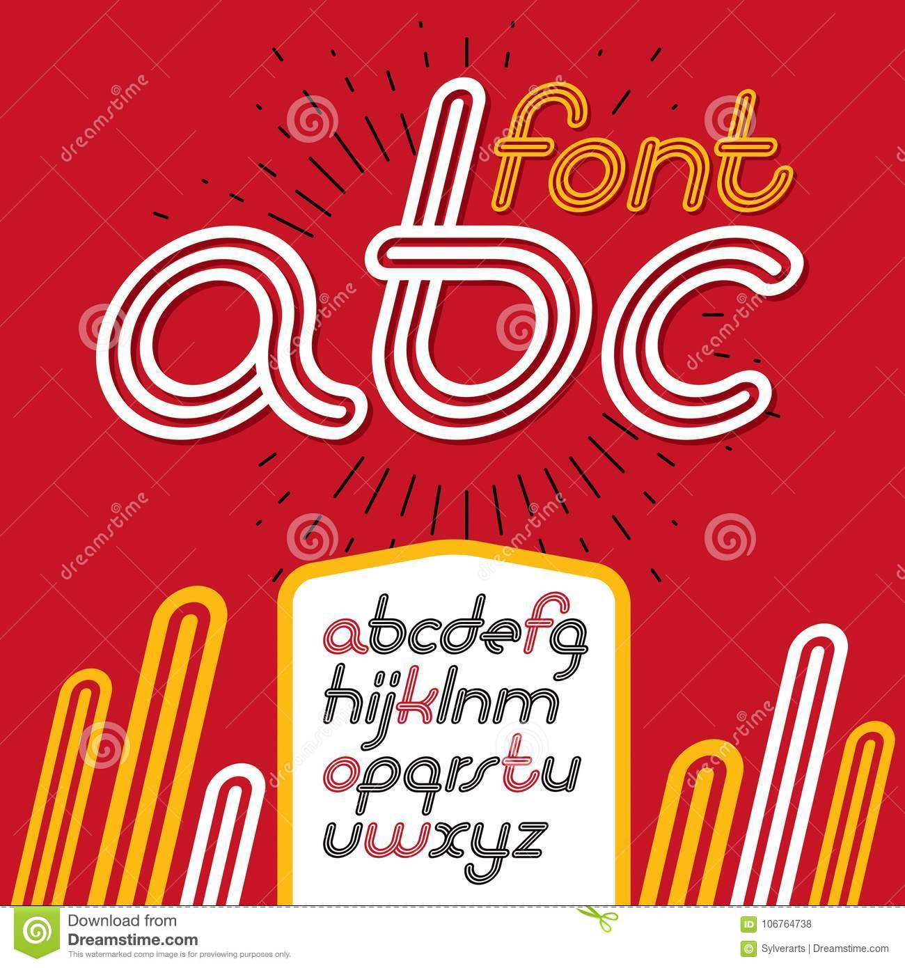 Vector Retro Lowercase English Alphabet Letters Abc Collection Cool Disco Cursive Font Script From A To Z Can Be Used In Poster Art