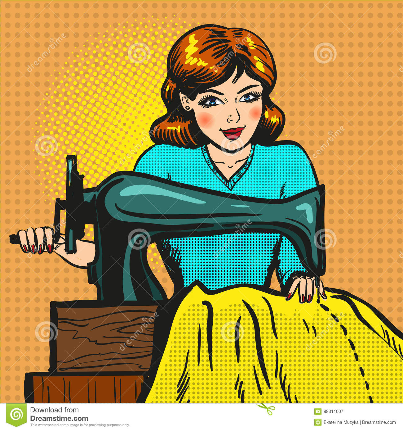 Vector retro pop art illustration of seamstress sewing on machine