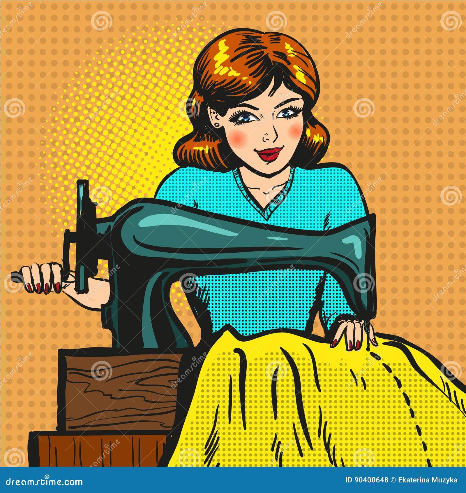 Vector retro pop art illustration of seamstress sewing on machine