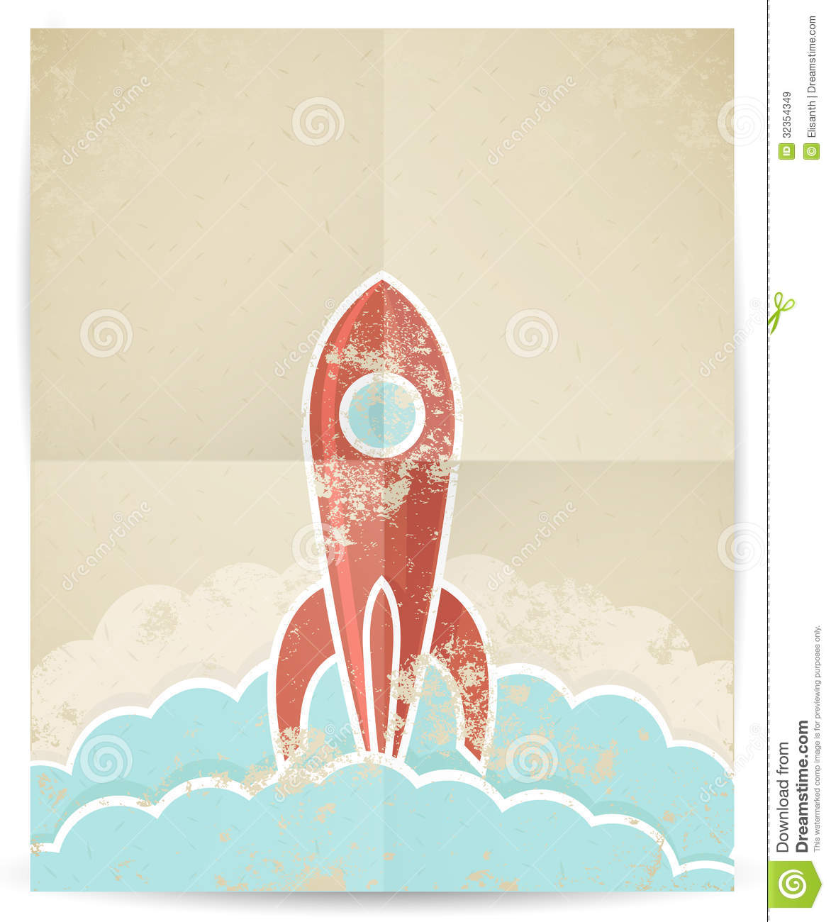 Vector Retro Rocket With Grunge Texture Royalty Free Stock ...