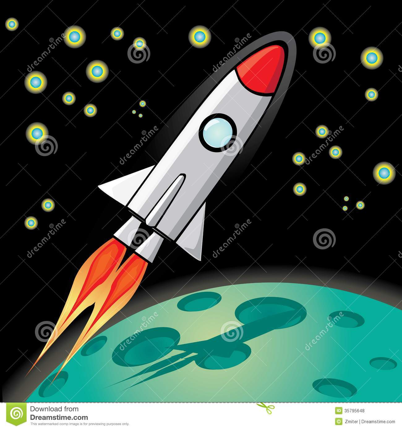 Vector retro rocket ship space in the sky royalty free for Space blast 3d