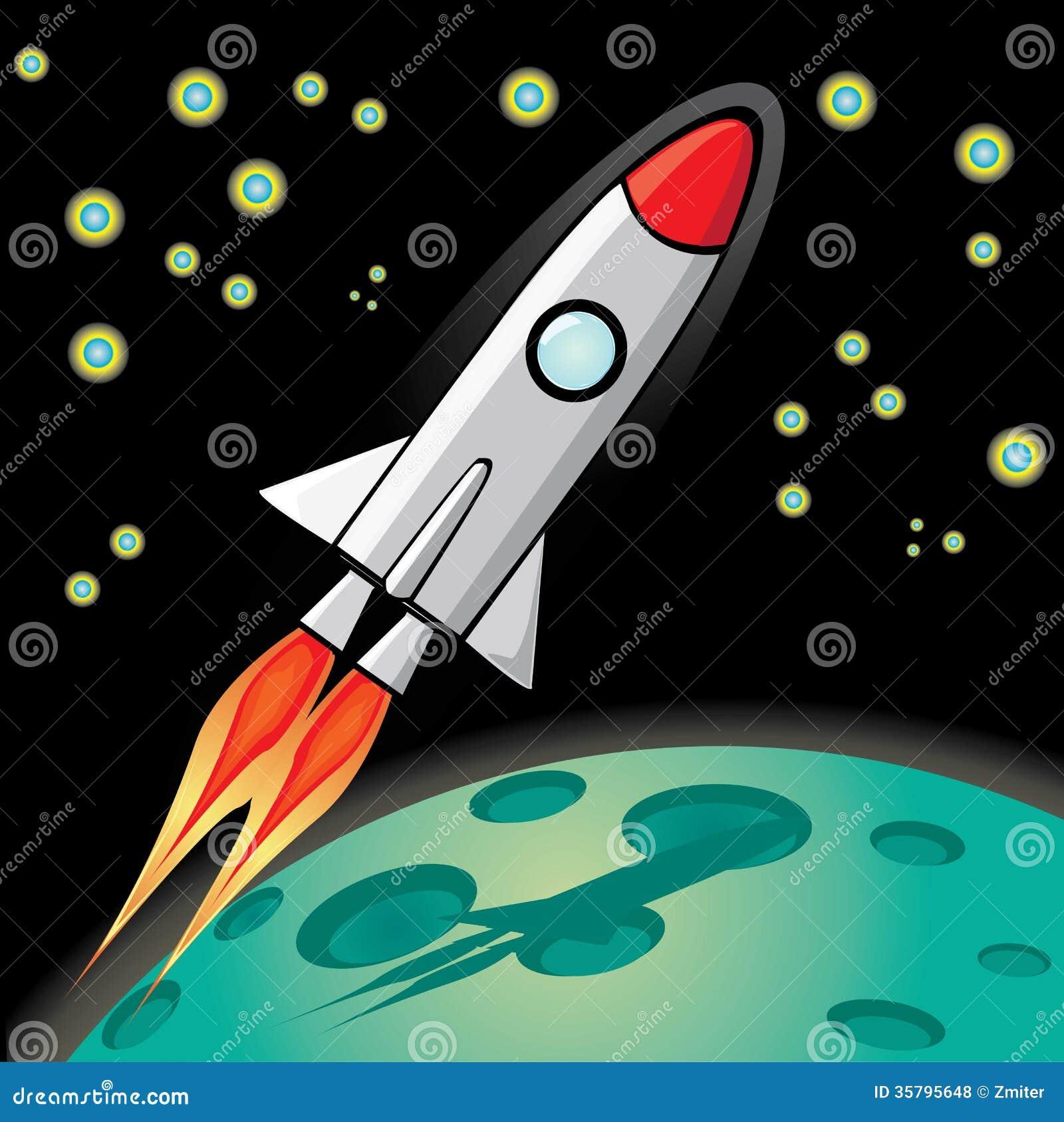 Vector Retro Rocket Ship Space In The Sky. Stock Vector ...