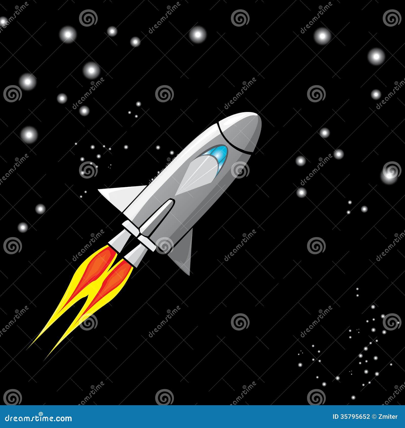 Vector Retro Rocket Ship Space In The Sky. Stock ...