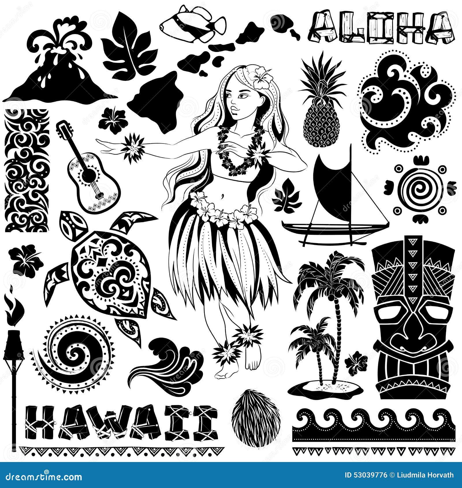 Vector Retro Set Of Hawaiian Icons And Symbols Stock