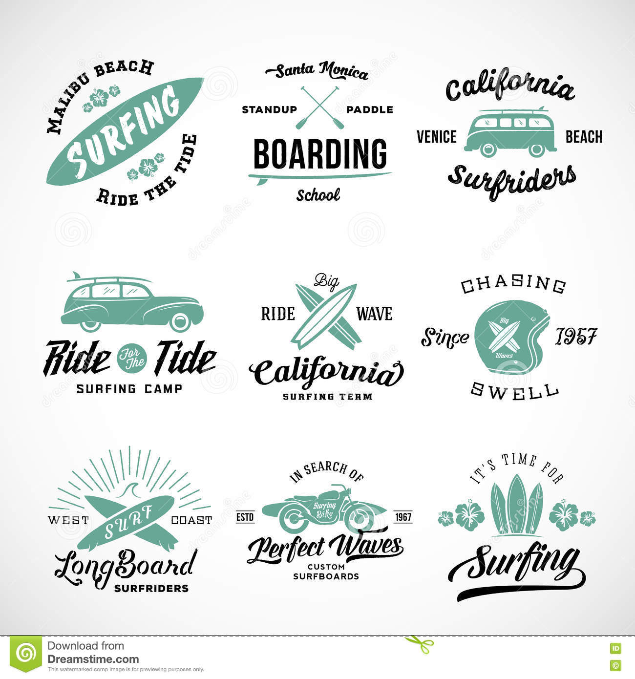 T shirt design hawaii - Vector Retro Style Surfing Labels Logos Or T Shirt Graphic Design Featuring Surfboards