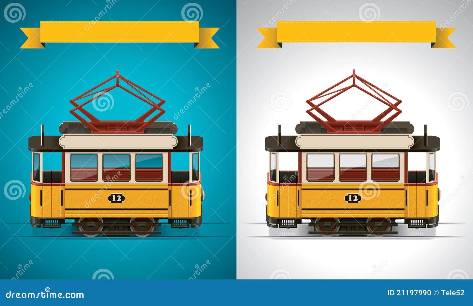 Vector retro tram XXL icon