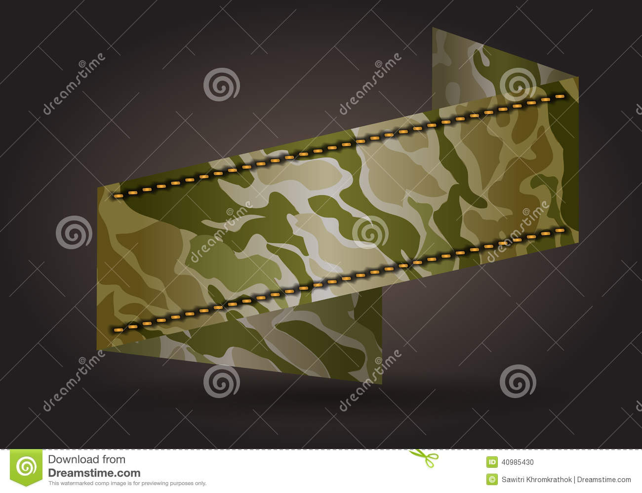 Vector Ribbon Banner With Camouflage Fabric Pattern Stock ...