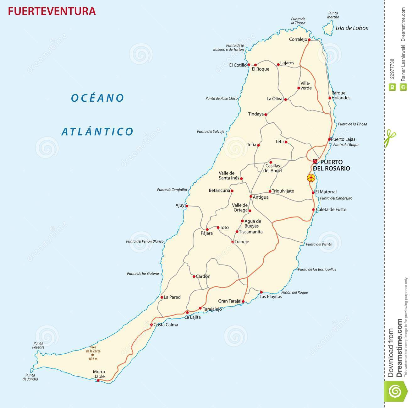 Vector Road Map Of Canary Island Fuerteventura Map Stock Vector