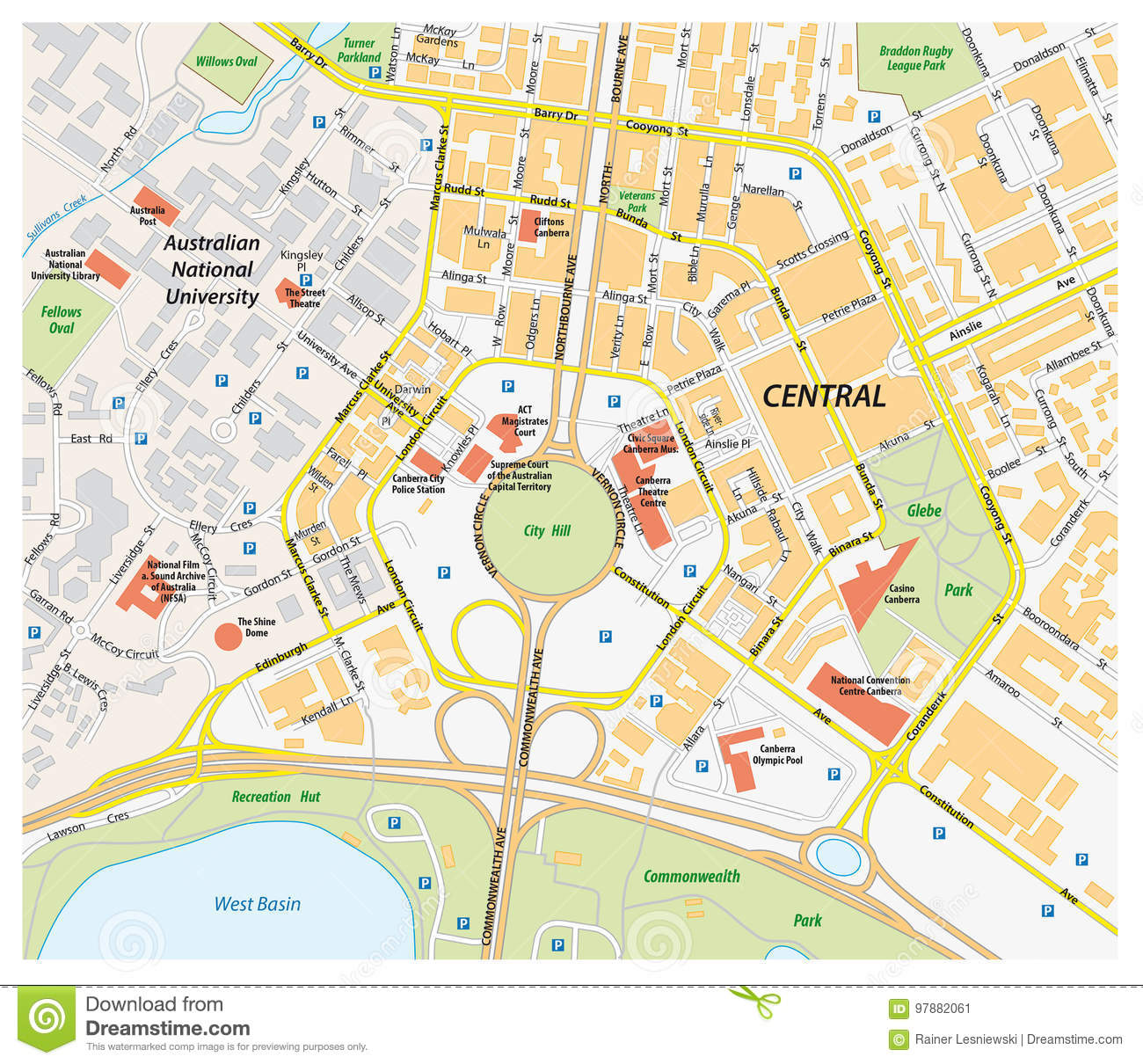 Vector road map of central canberra, Australia
