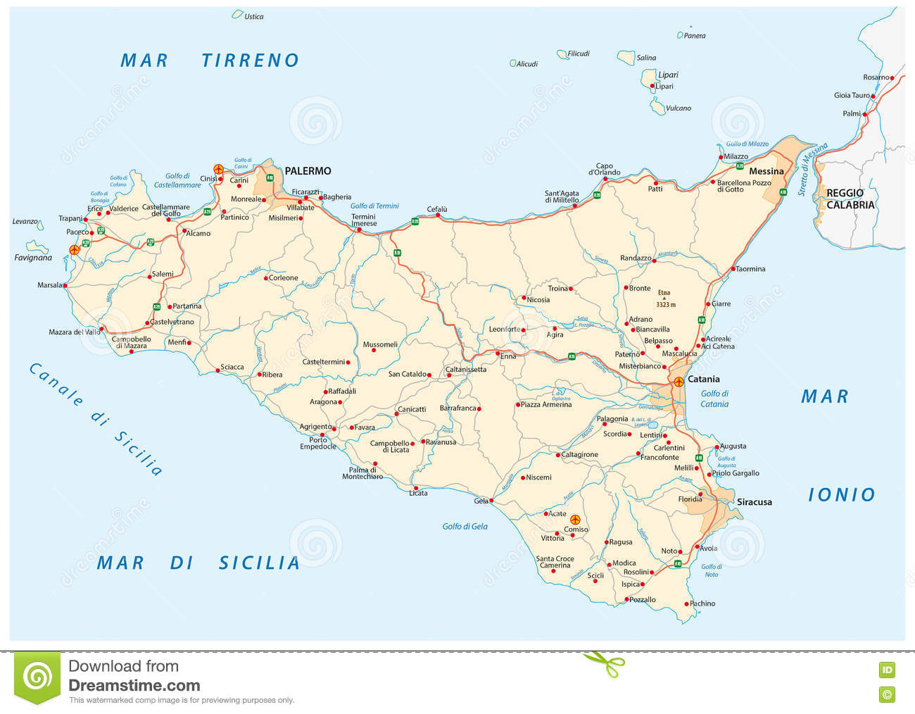 Vector Road Map Of Iceland Sicily, Italy Stock Illustration ...