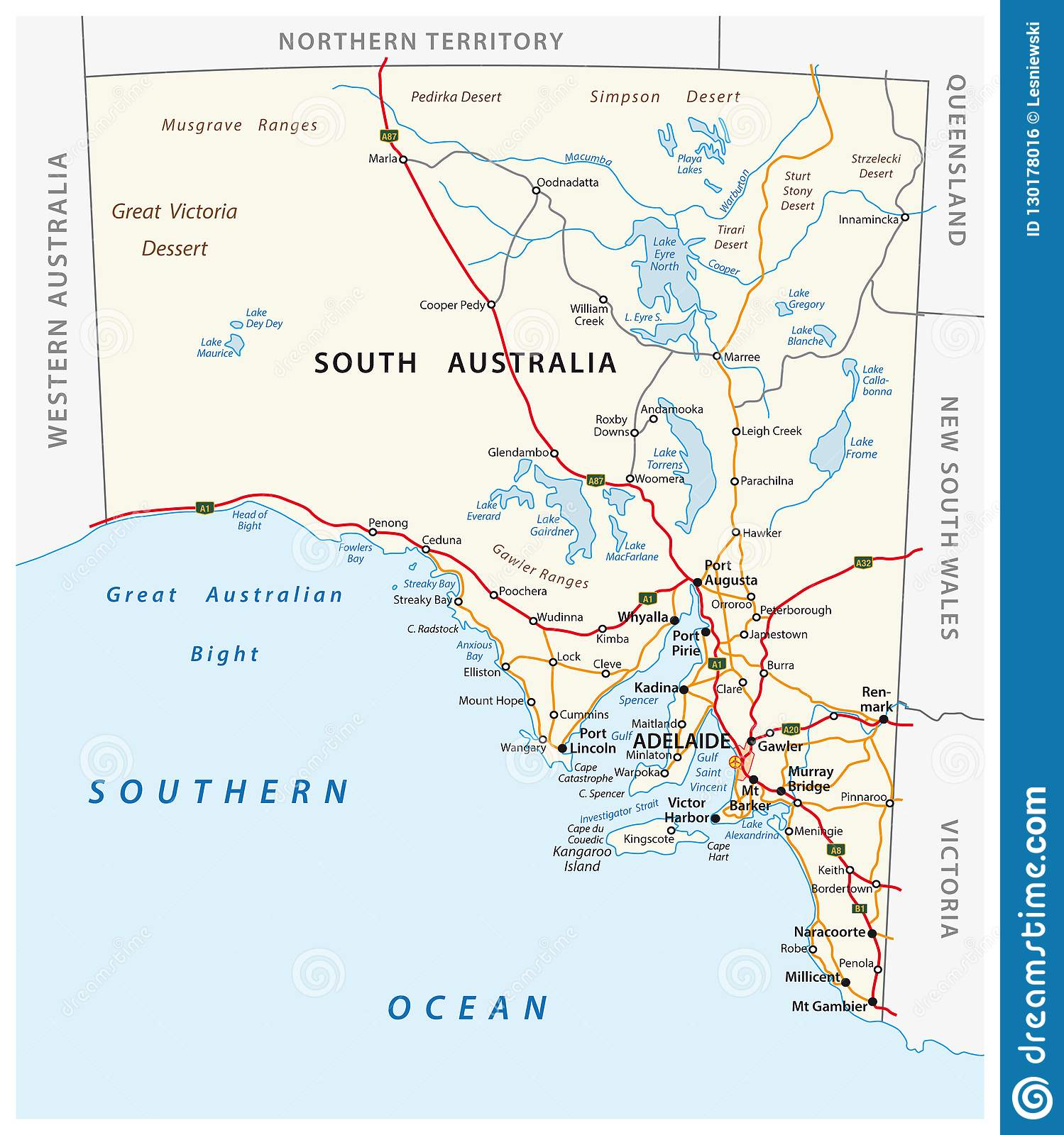Road Map Australia.Vector Road Map Of The State South Australia Stock Vector