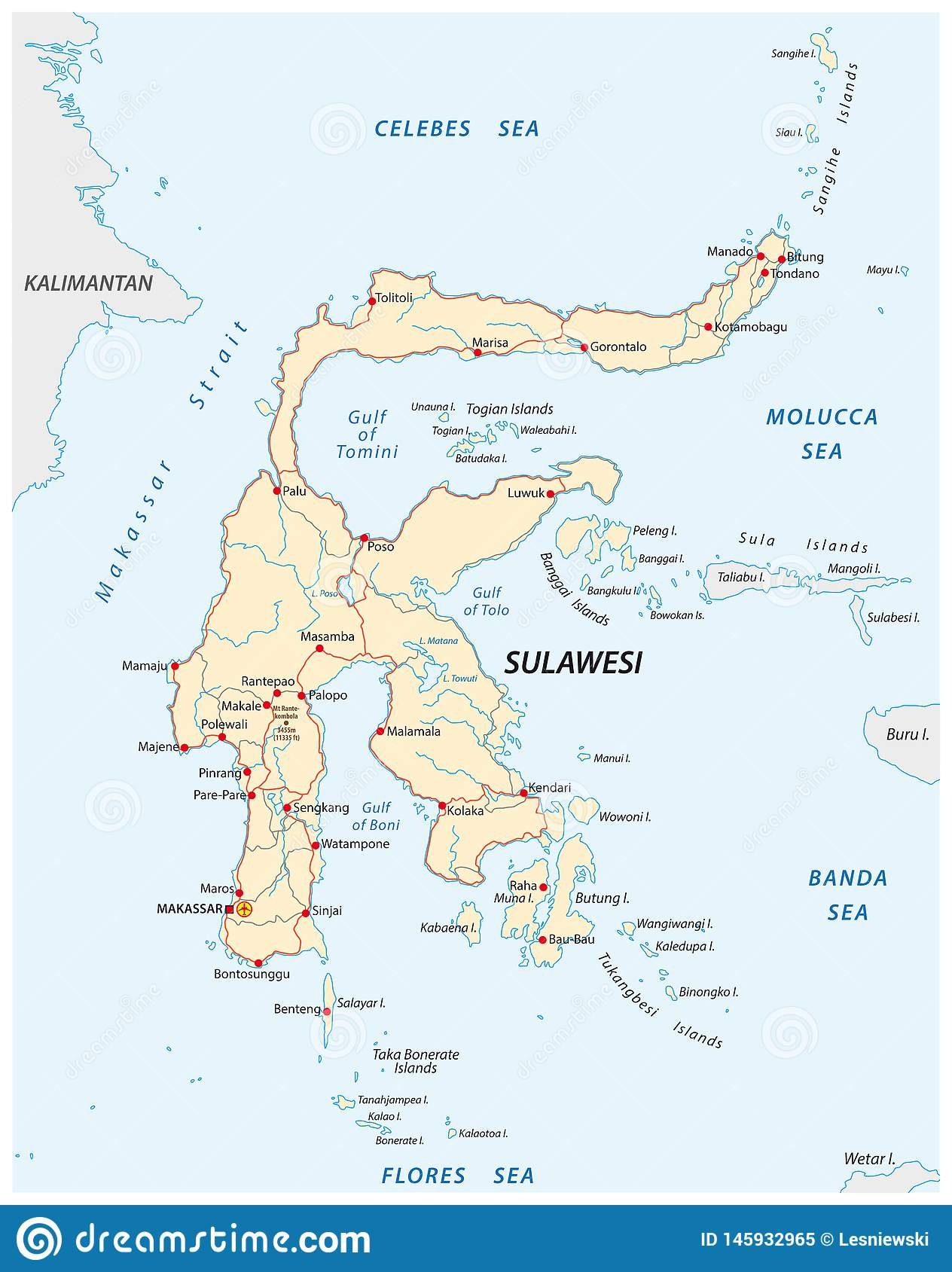 Vector Roads Map Of Indonesian Island Sulawesi Stock Vector ...