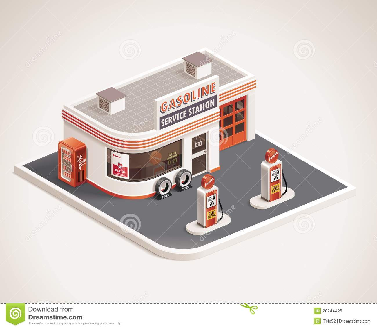 Vector Roadside Gas Station XXL Icon Royalty Free Stock