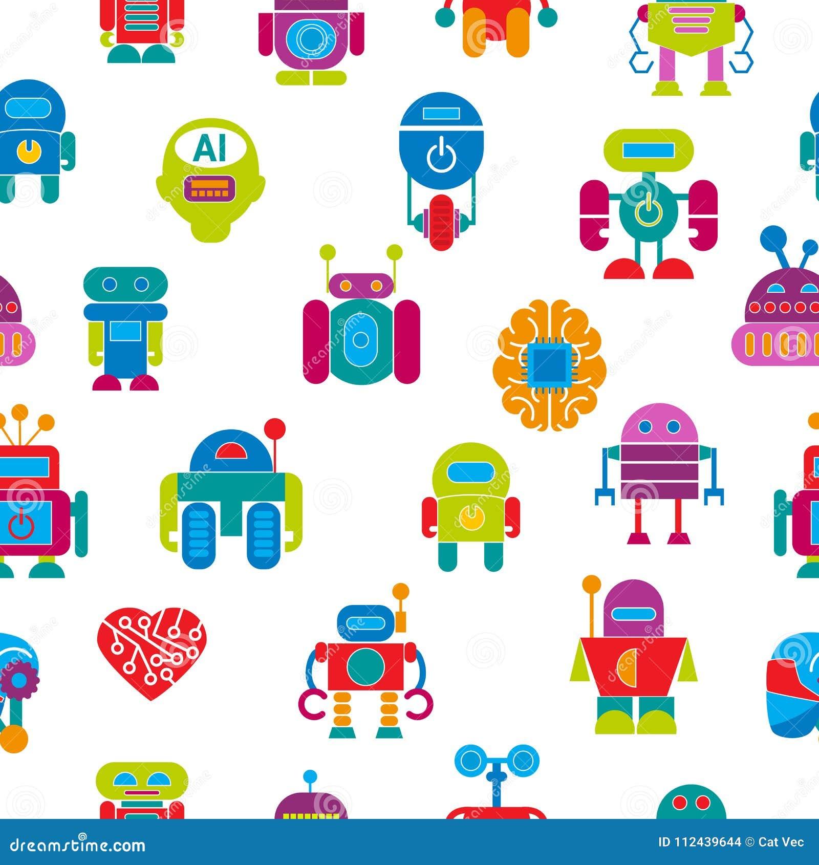 Vector robot technology design futuristic kid flat baby children cyborg robotic character machine science future